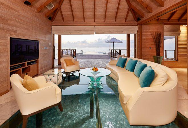 Sunset Water Villa living room