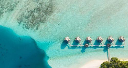Aerial view of water villas